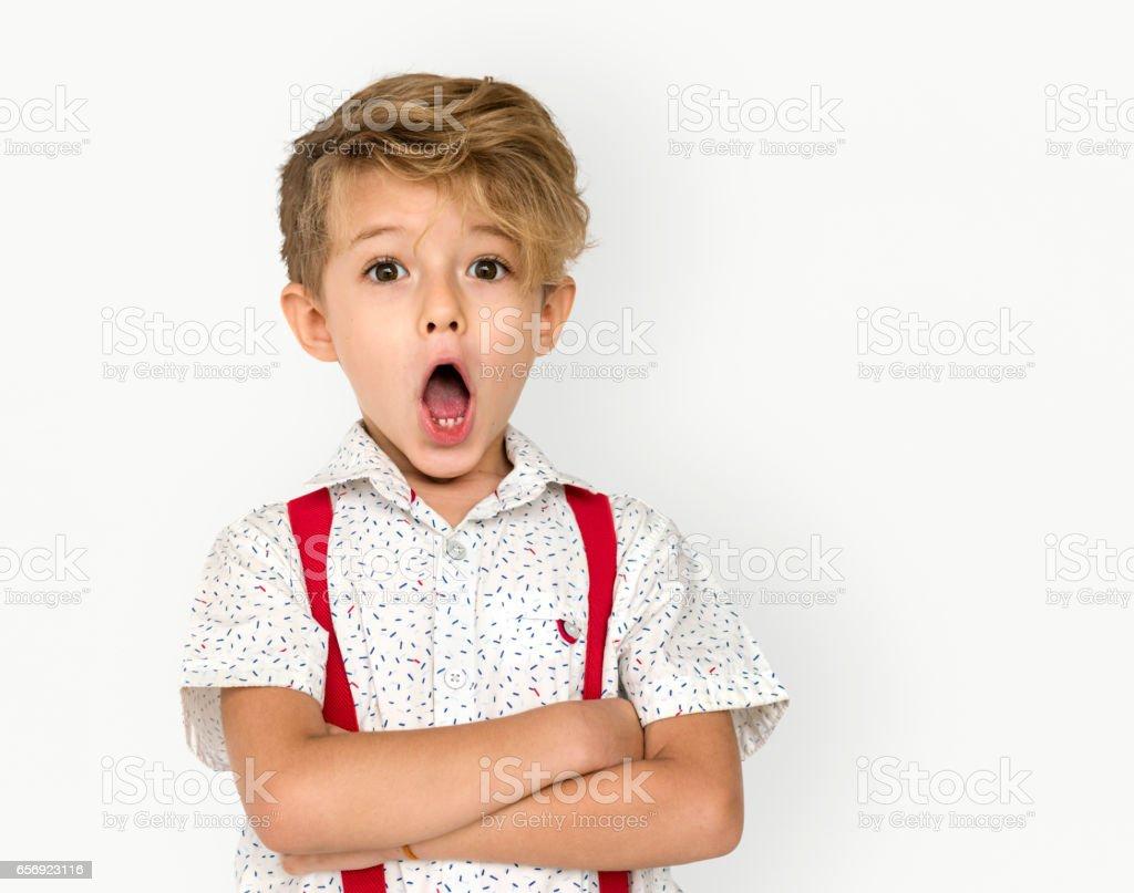 Child Boy Studio Portrait Gesture – Foto