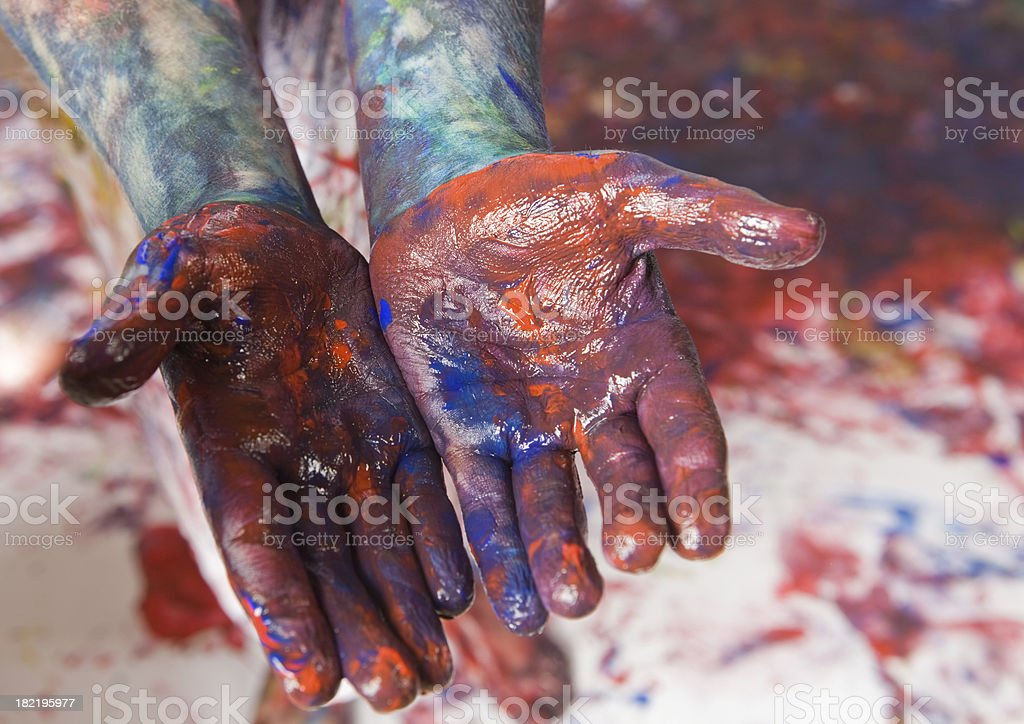 Child Boy's Painted Hands royalty-free stock photo