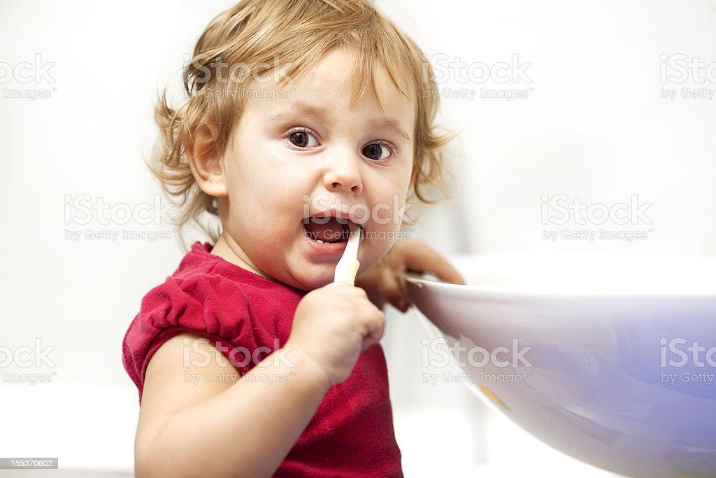 Child brushing teeth. royalty-free stock photo