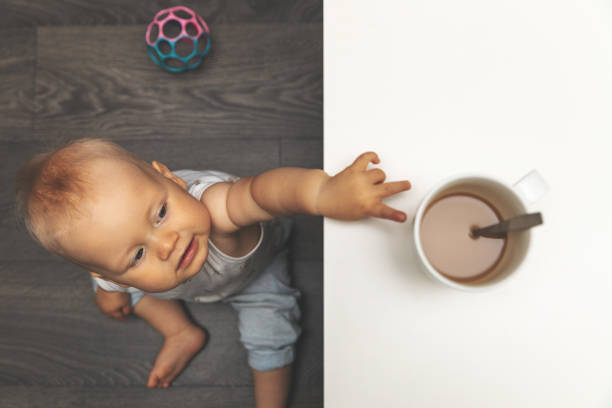 child burn and scald injury concept - little boy reaching for hot drink mug on the table stock photo