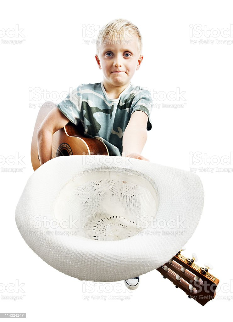 Child busker asking for donation with hat stock photo