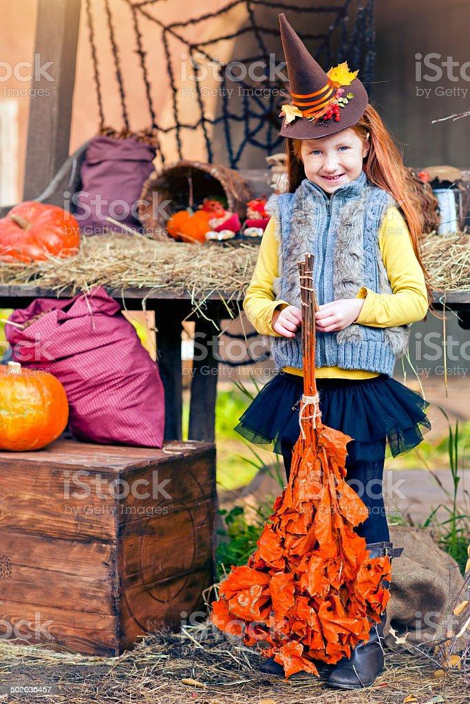Child celebrating Halloween royalty-free stock photo