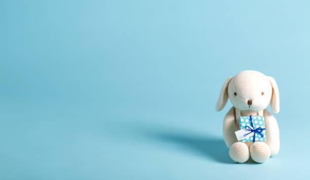 kind feest thema met gave en knuffeldier - background baby stockfoto's en -beelden