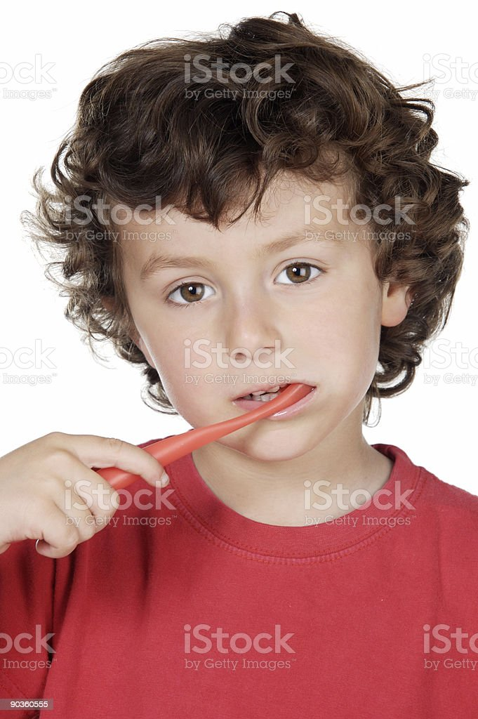 child cleaning the teeth royalty-free stock photo