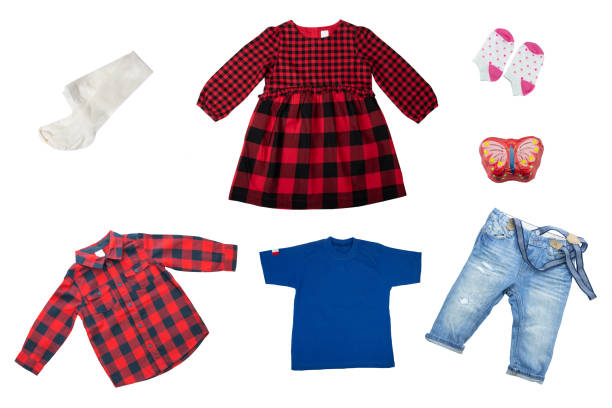 child clothes isolated. collage set of children clothes isolated on a white background. concept spring fashion for children. - spring fashion stock pictures, royalty-free photos & images