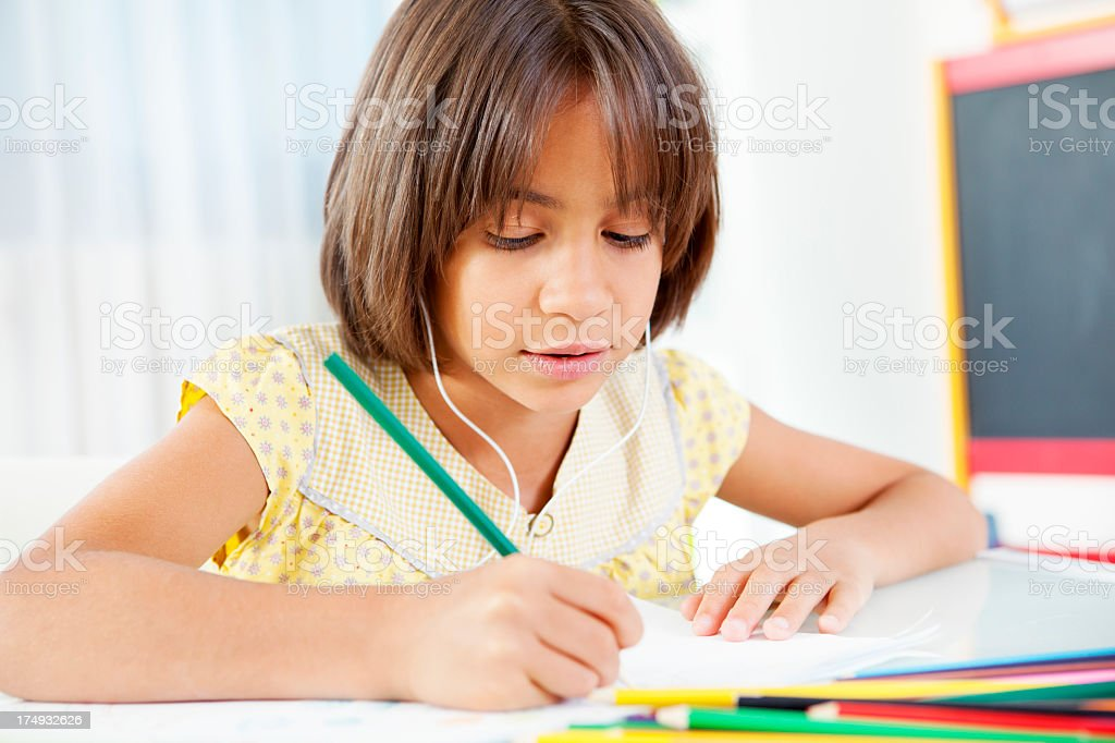 Child Coloring and Drawing. royalty-free stock photo