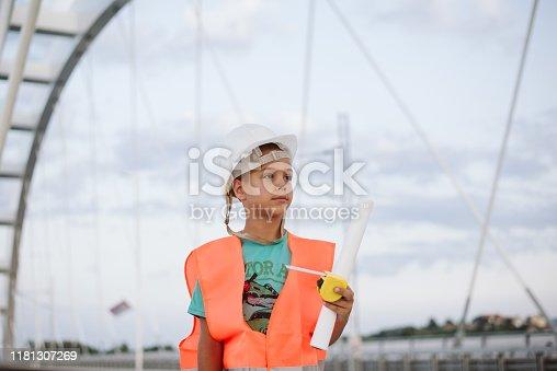 643843490 istock photo Child construction worker. 1181307269