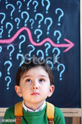 istock Child contemplating question marks 513823343