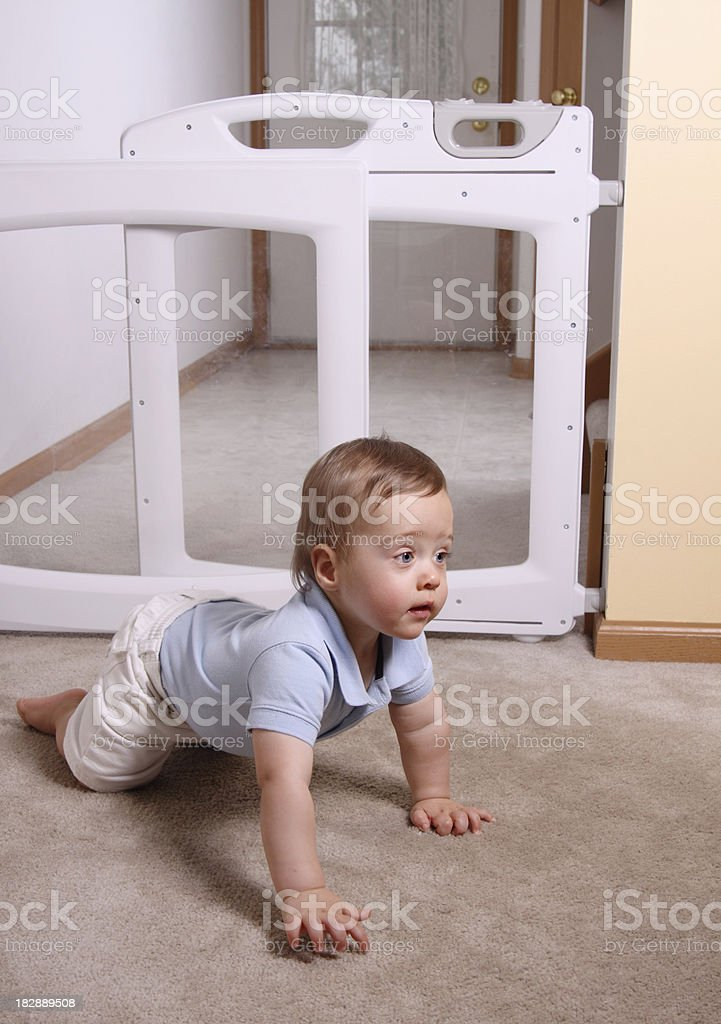 Child Crawling by Baby Gate stock photo