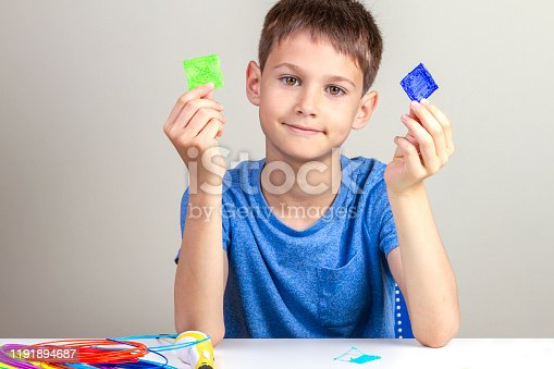 899701486 istock photo Child creating with 3d pen new object 1191894687