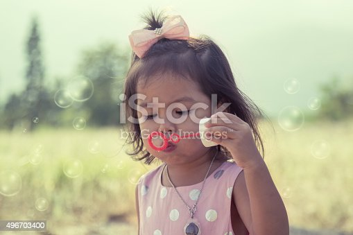 507271044istockphoto Child cute little girl blowing a soap bubbles 496703400