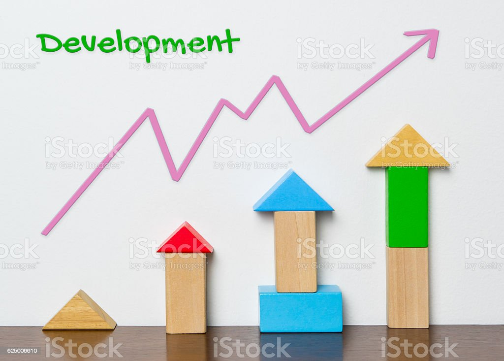 Child Development graph with toy block concept stock photo
