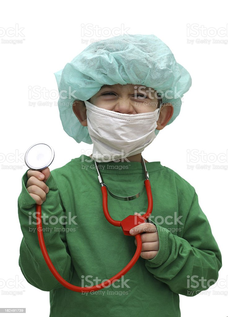 Child disguised as surgeon, isolated royalty-free stock photo