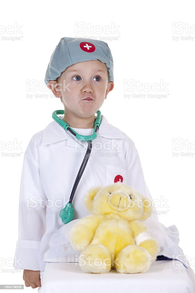 Child doctor Ready to examine his patient royalty-free stock photo