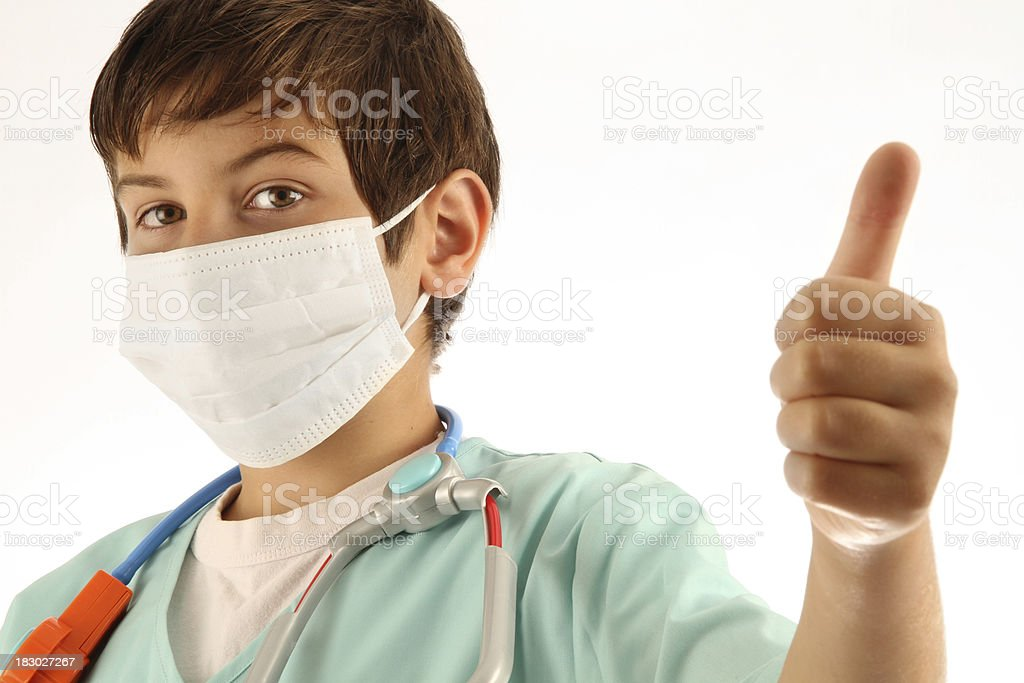 Child Doctor with Thumbs-Up. royalty-free stock photo