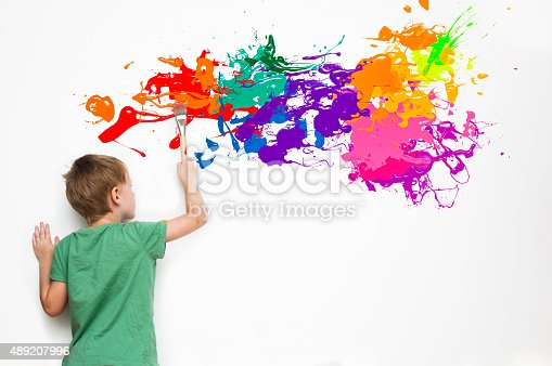 istock Child drawing an abstract picture 489207996