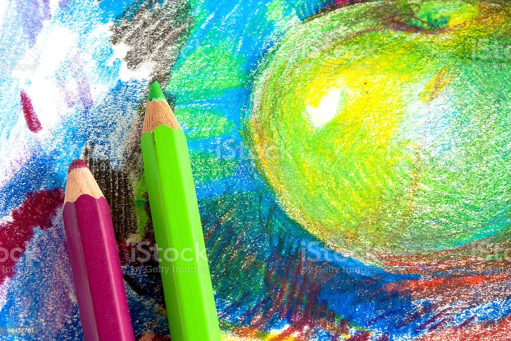 Child drawing by colored pencils royalty-free stock photo