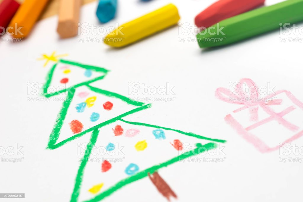 child drawing,  christmas tree , selective focus stock photo