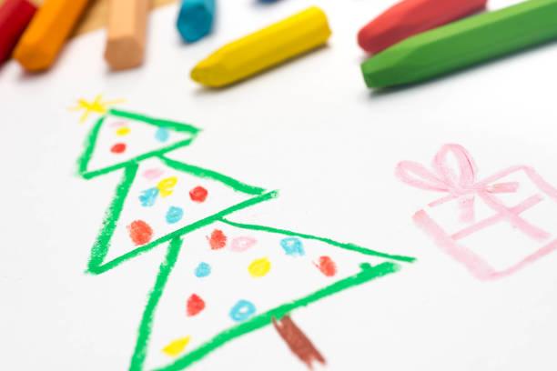 zeichnung, weihnachtsbaum, selektiven fokus kind - weihnachtsbilder zum ausmalen stock-fotos und bilder