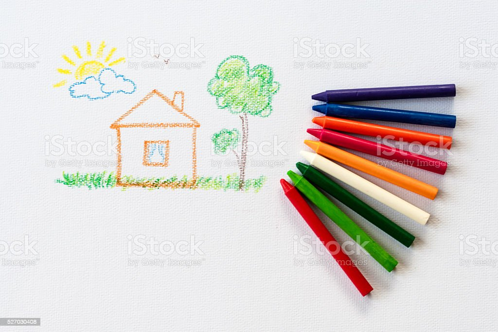 child drawing home, drawing with pencil painting picture stock photo