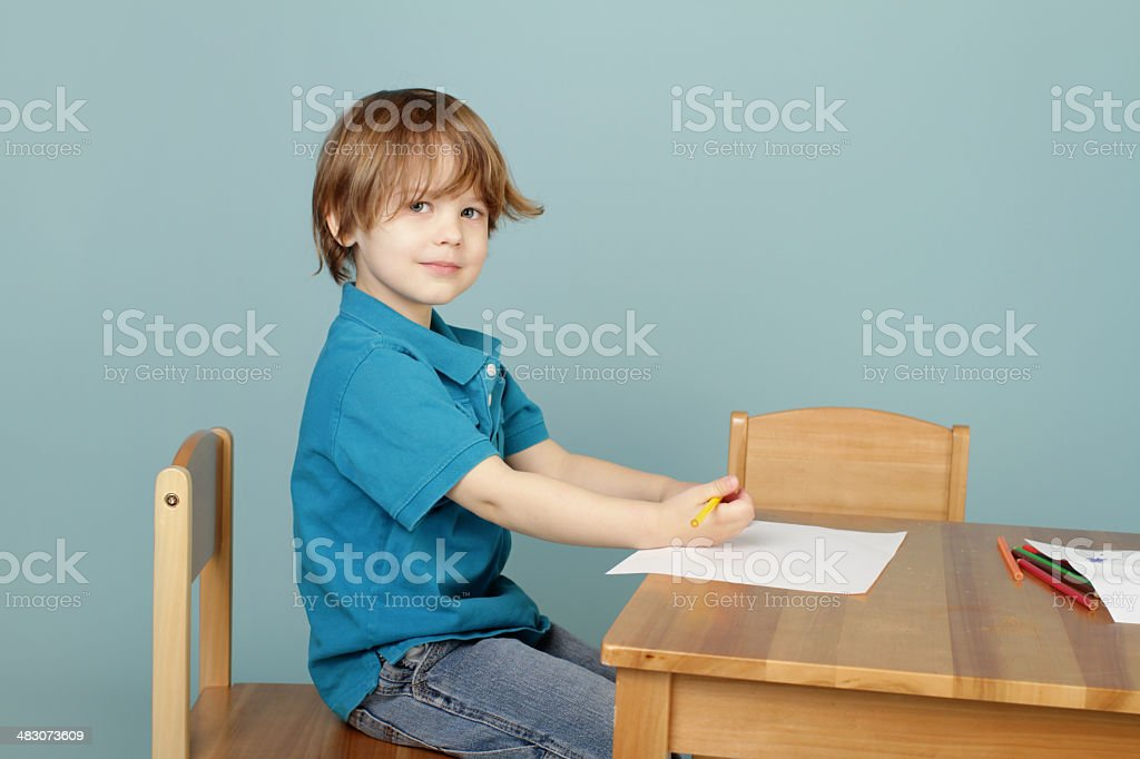 Child Drawing Learning to Write stock photo