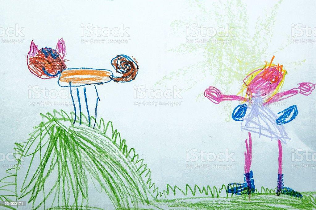 Child drawing mum and cat stock photo