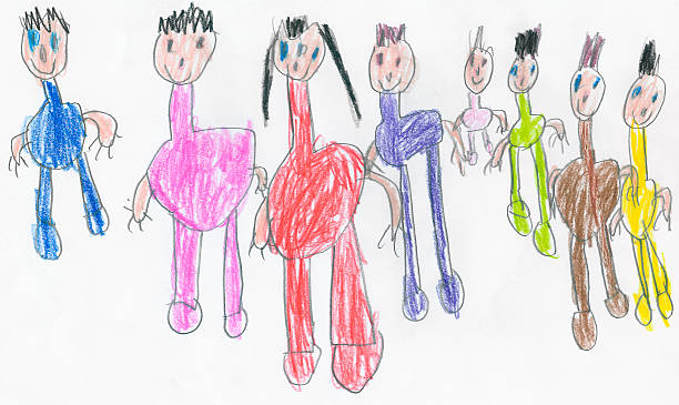 felice grande famiglia - scarabocchio disegno foto e immagini stock