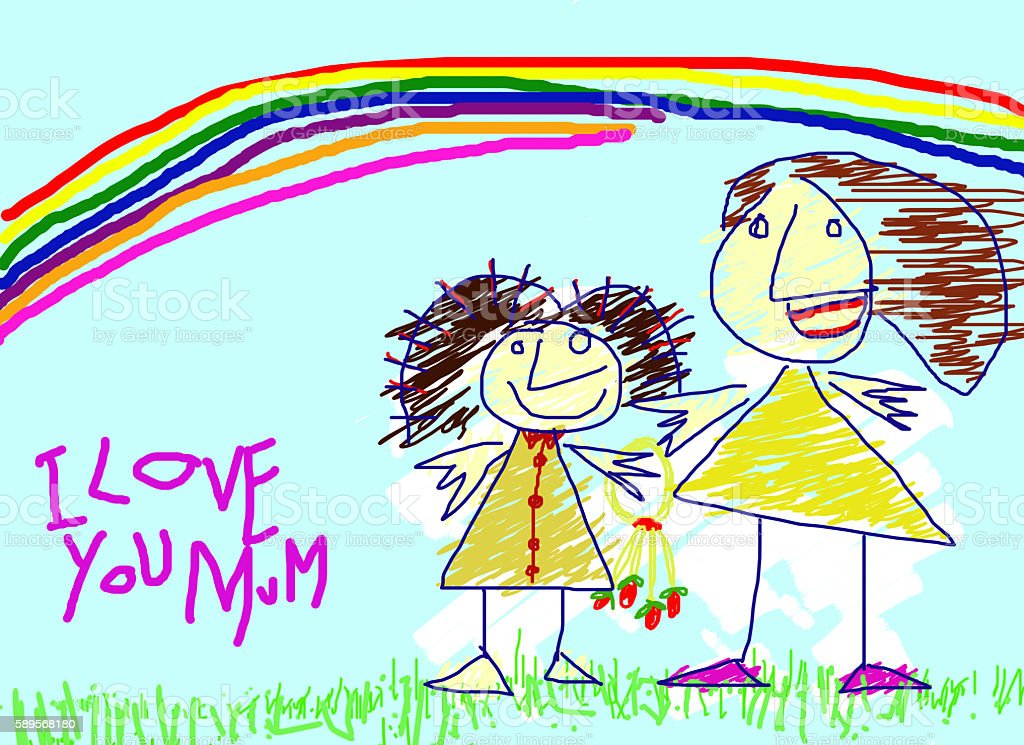 Child Drawing Paint Rainbow Mother Love Stock Fotografie Und Mehr