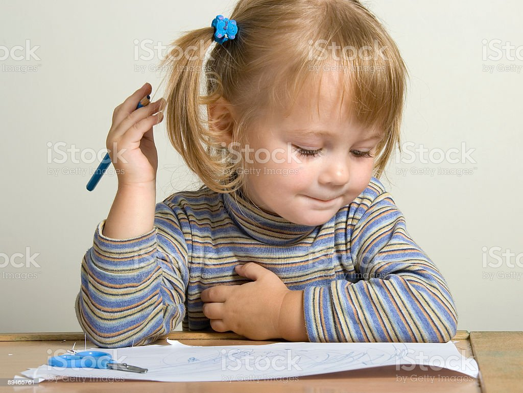 child drawing royalty-free stock photo