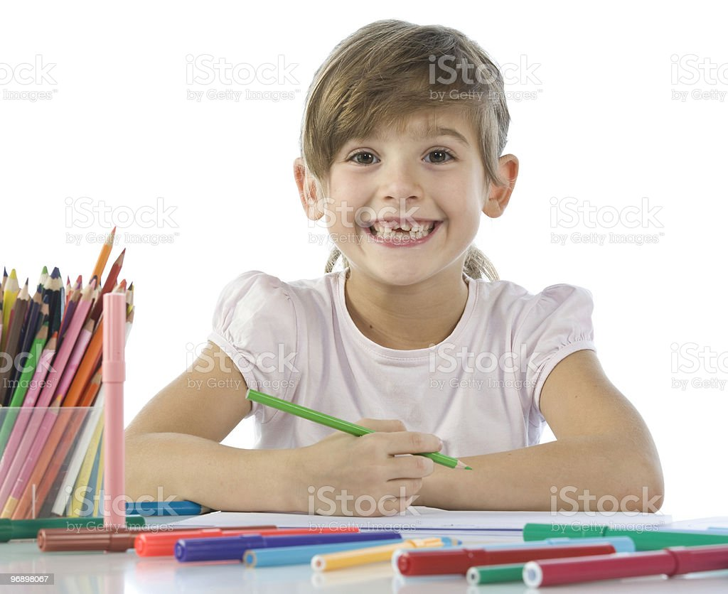 child draws royalty-free stock photo