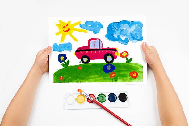 Niño de premios el coche watercolors - foto de stock