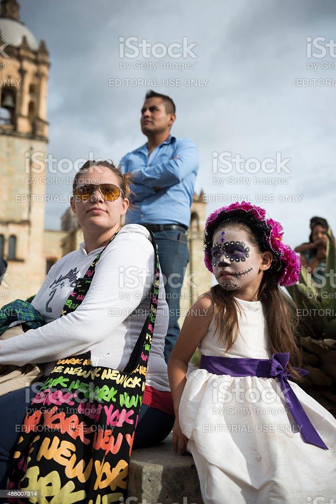 Child dressed for Día de los Muertos in Oaxaca, Mexico stock photo
