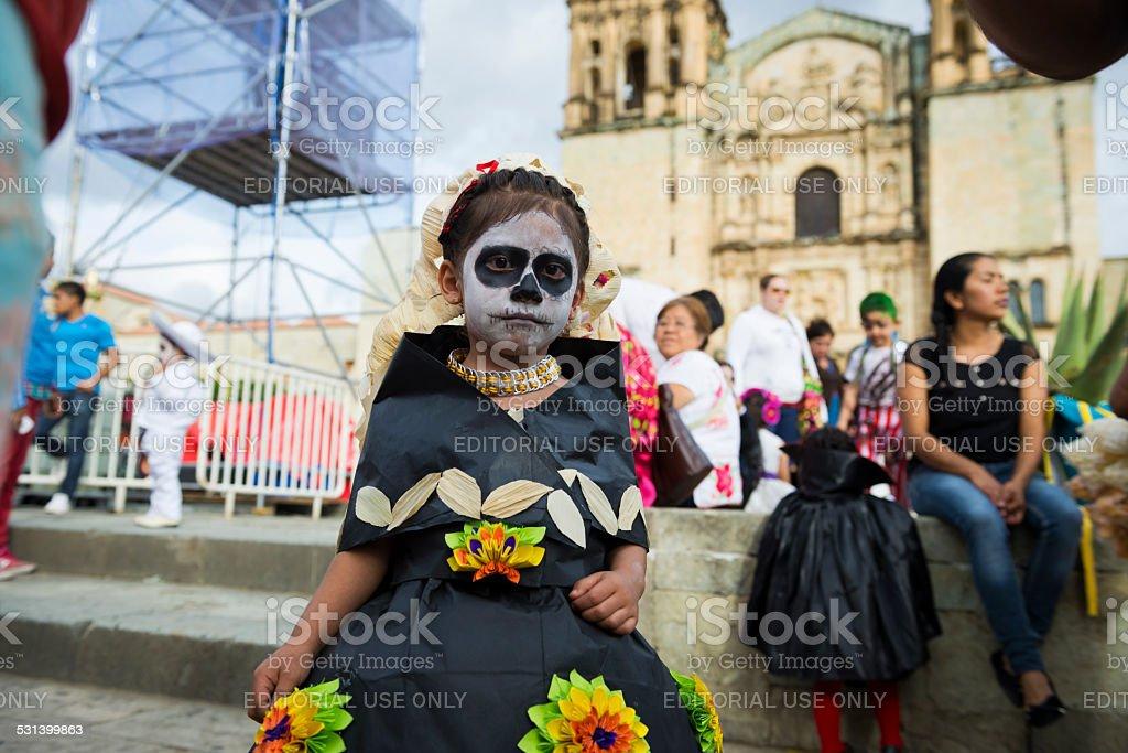 Child dressed for Día de los Muertos in Oaxaca stock photo