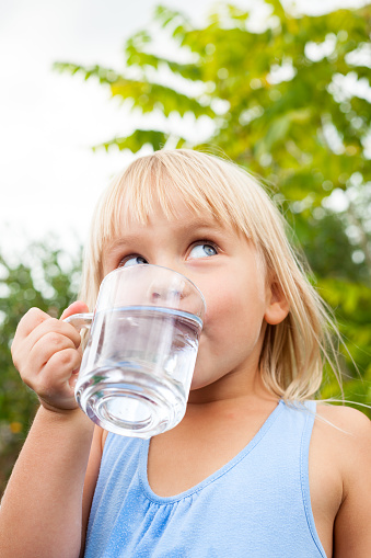 Child Drinking Water Outdoors Stock Photo - Download Image ...