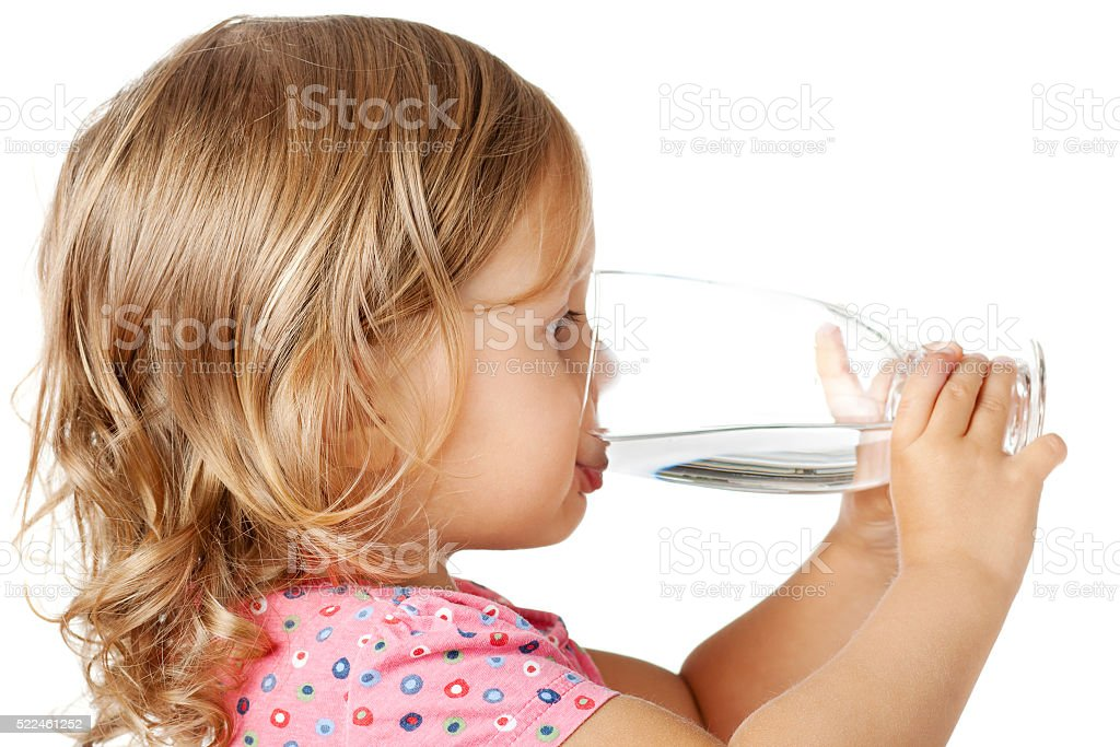 child drinking water stock photo