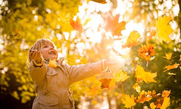 Child enjoying autumn time stock photo