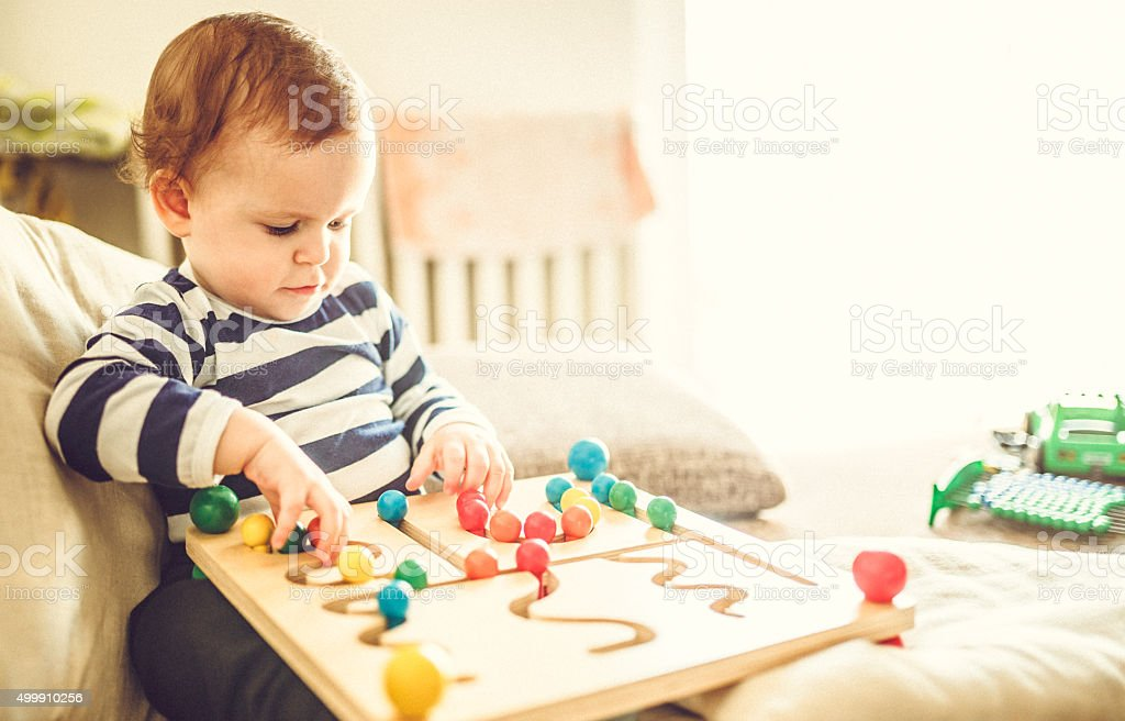 Child enjoying learning stock photo