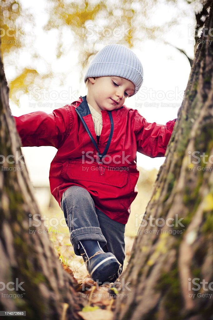 Child exploring and overcoming barriers royalty-free stock photo