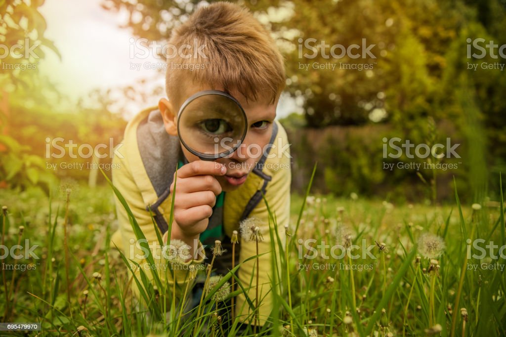 Child Exploring the Outdoors With Magnifying Glass stock photo