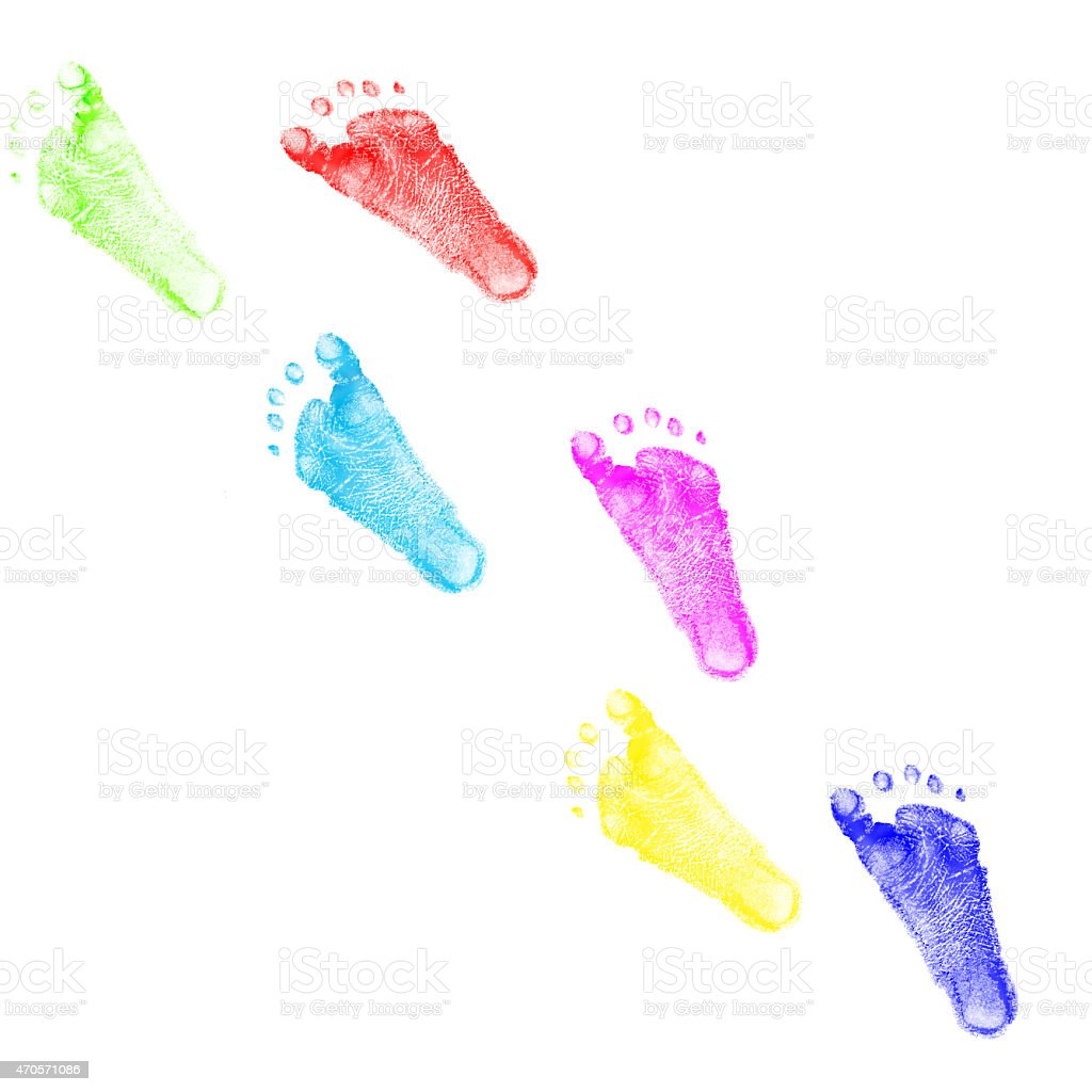 child foots prints colorful stock photo