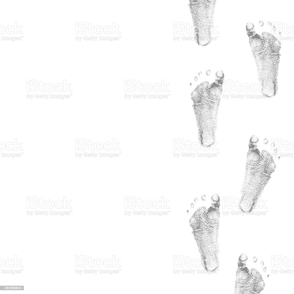child foots prints stock photo