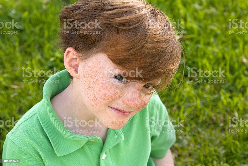 Child Freckle Face Redhead Irish Green St. Patrick's Day Boy royalty-free stock photo