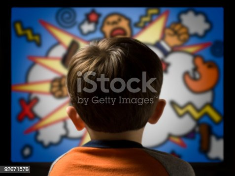 istock Child From Behind Watching Violent Cartoon on Television 92671576
