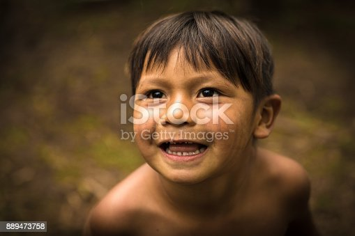 istock Child from Tupi Guarani tribe in Manaus, Brazil 889473758