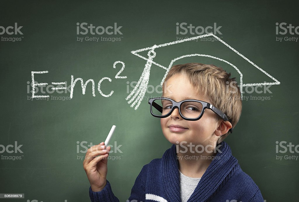 Child genius in education stock photo