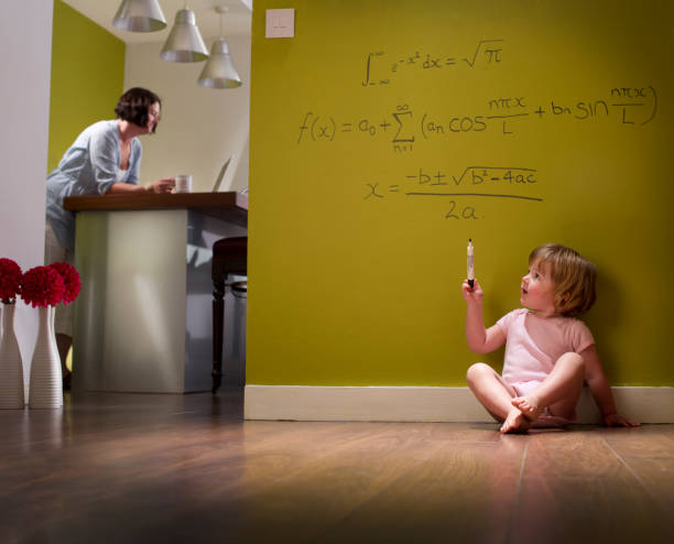 child genius baby writes equation on wall unsupervised child prodigy stock pictures, royalty-free photos & images