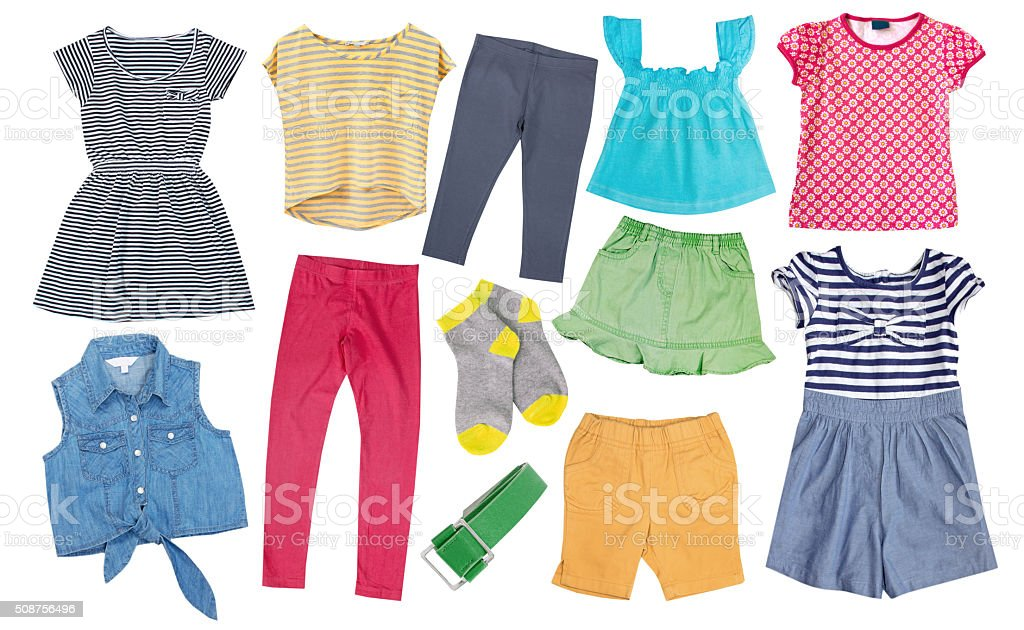 Child girl cotton bright summer clothes set collage isolated. stock photo