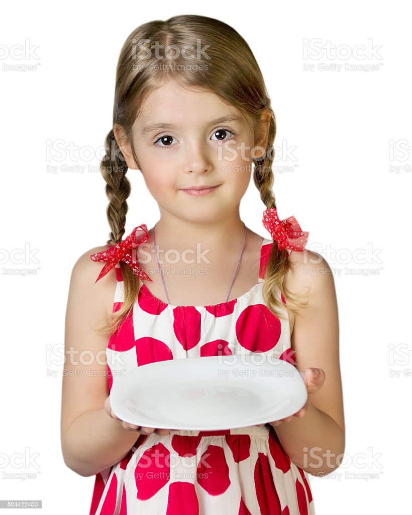 Child girl empty hold plate dish isolated on white. stock photo
