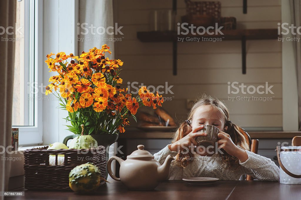 child girl having breakfast at home in autumn morning stock photo