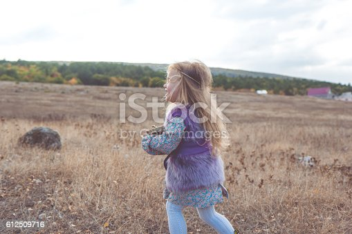 istock Child girl in autumn filed 612509716